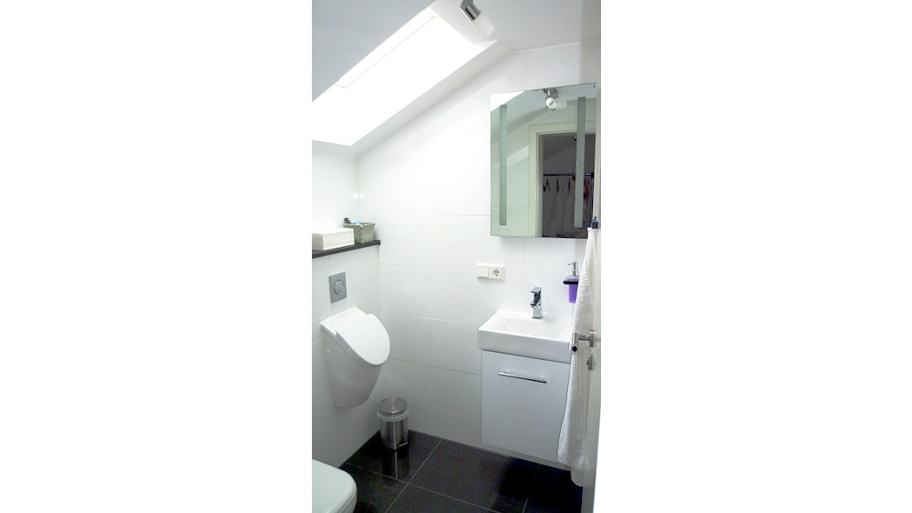 Guest toilet with washbasin and large mirror